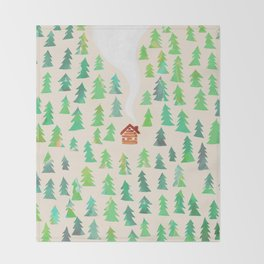 Alone in the woods Throw Blanket