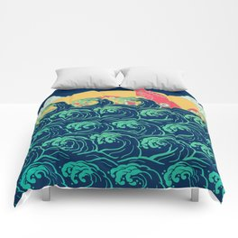 Squid on the waves Comforters