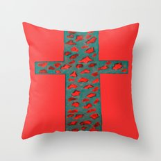 Coral & Teal Leopard Print Cross Throw Pillow