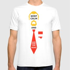 Stay Calm and aim for the head White MEDIUM Mens Fitted Tee