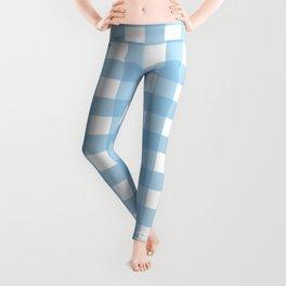 Light Blue & White Gingham Pattern Leggings