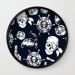 Navy Blue Pirate Pattern Wall Clock