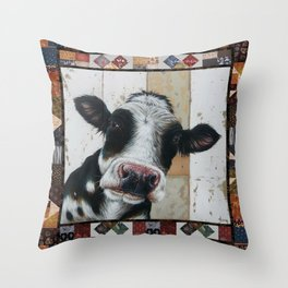 Silly cow Throw Pillow