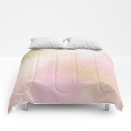 Pretty In Pink And Gold Delicate Abstract Painting Comforters