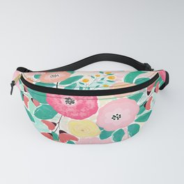 Modern brush paint abstract floral paint Fanny Pack