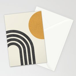 Mid century modern Sun & Rainbow Stationery Cards