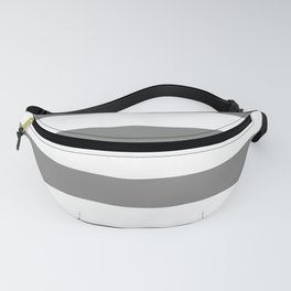 Large Battleship Gray and White Horizontal Cabana Tent Stripes Fanny Pack