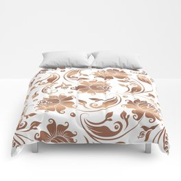 Light Copper & White Floral Damasks Comforters