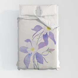 purple columbine flower Duvet Cover