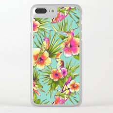 Tropical flowers with parrots Clear iPhone Case
