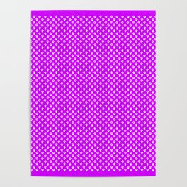 Tiny Paw Prints Pattern - Bright Magenta and White Poster