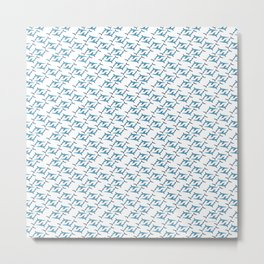 Blue Shark Pattern Metal Print