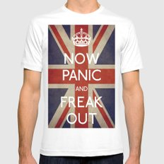 NOW PANIC AND FREAK OUT White MEDIUM Mens Fitted Tee