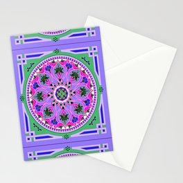 Boho Floral Crest Purple Stationery Cards