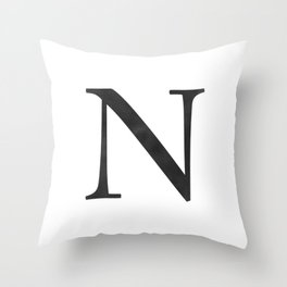 Letter N Initial Monogram Black and White Throw Pillow