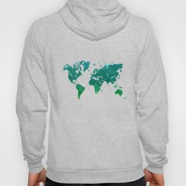 Green watercolor world map Hoody