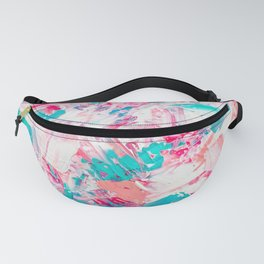 Modern bright candy pink turquoise pastel brushstrokes acrylic paint Fanny Pack