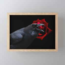 Surreal Crow Raven Black Bird with Red Rose Gothic Art A580 Framed Mini Art Print