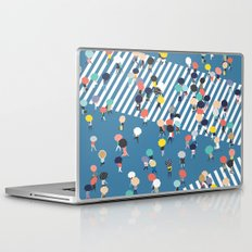 Crossing The Street On a Rainy Day - Blue Laptop & iPad Skin