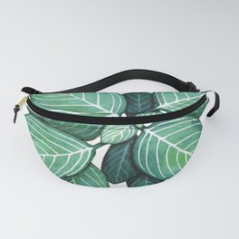 Watercolor Green Plant with White Veins Fanny Pack