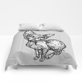 sweet cat line style - gatto dolce - chat doux - gato dulce B/W Comforters