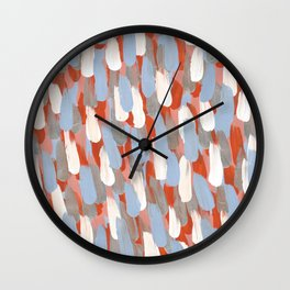 Painted Rain: Blue, Silver, Orange and White Wall Clock