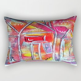Orange Neon Houses Rectangular Pillow