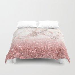 Elegant Faux Rose Gold Glitter White Marble Ombre Duvet Cover