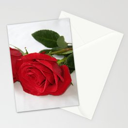 Misted Red Roses on White Stationery Cards
