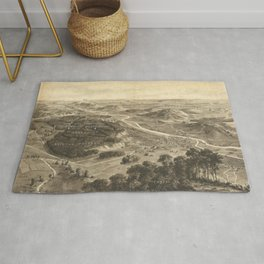 Bird's eye view of the Western Front of World War I near Pont-A-Mousson in Lorraine (1917) Rug