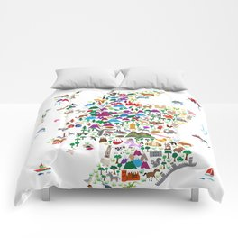 Animal Map of Scotland for children and kids Comforters