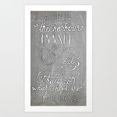 Chalkboard hand-lettered motivational quote Art Print