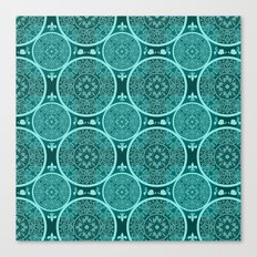 Turquoise abstract seamless lace pattern texture background Canvas Print
