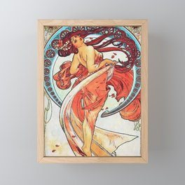 Alphonse Mucha Dance Art Nouveau Watercolor Painting Framed Mini Art Print