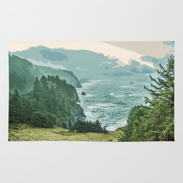 Oregon Coast Sunrise in Simplified Color Rug