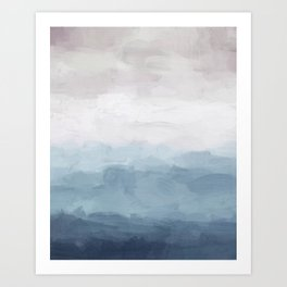 White, Mauve, Navy Soft Blue Print Modern Wall Art, Printable Abstract Painting, Ocean Clouds Misty Art Print