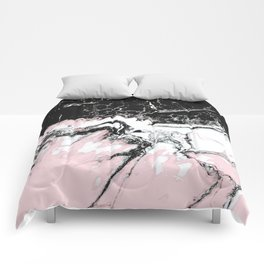 pink and black marble Comforters