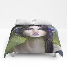 Viola - Girl with purple flowers in her hair Comforters