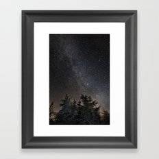 Andromeda Galaxy, Perseus and milkyway over the forest in the mountains Framed Art Print