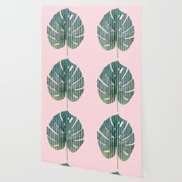 Painted Monstera Leaf Wallpaper