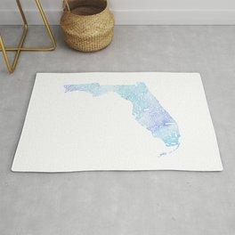 Typographic Florida - blue watercolor Rug