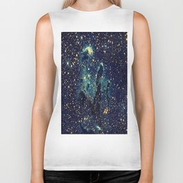 Pillars of Creation GalaxY  Teal Blue & Gold Biker Tank