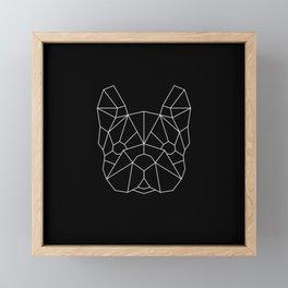 Geo Frenchie - Black and White Framed Mini Art Print