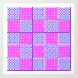 Pink Checks Art Print