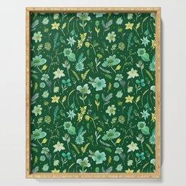 Verdant Flowers on Dark Green Background Serving Tray