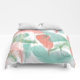Peach and Turquoise Feathers Comforters