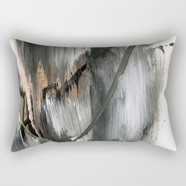 01025 [2]: a neutral abstract in gold, black, and white Rectangular Pillow