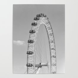 The London Eye (Black and White) Poster