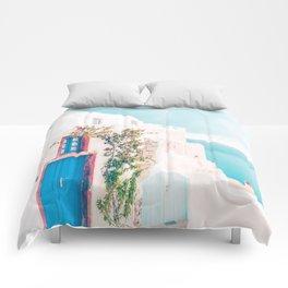 Santorini Greece Cozy blush travel photography in hd. Comforters