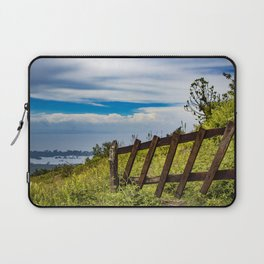 Wood Fence Lining a Meadow with Lake Views on Mombacho Volcano in Nicaragua Laptop Sleeve